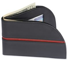 The Front Pocket Wallet - Hammacher Schlemmer - Shaped to fit in the front pocket, where thieves can't get to it.