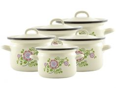 Komplet garnków emaliowanych Famos 5 el. kremowy New Folklor Sugar Bowl, Bowl Set, Kitchen, Cooking, Kitchens, Cuisine, Cucina