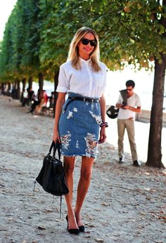 button down shirt,ripped denim skirt & pumps #style #fashion #streetstyle