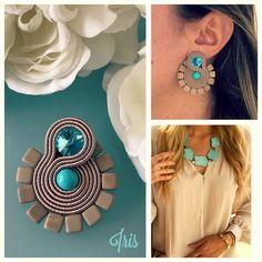 Soutache Earrings, Beaded Brooch, Diy Earrings, Earrings Handmade, Paper Jewelry, Diy Jewelry, Jewelery, Fashion Jewelry, Jewelry Making