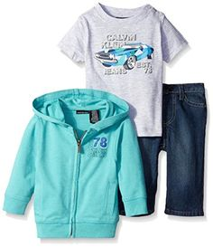 Calvin Klein BabyBoys French Terry Jacket with Short Sleeve Tee and Jeans Green 12 Months *** Details can be found by clicking on the image.