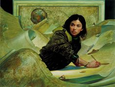 """ Cartographer: Claudia Rodriguez ""  22"" x 17"" Oil on Panel   http://www.donatoart.com/gallery/cartographer.html"