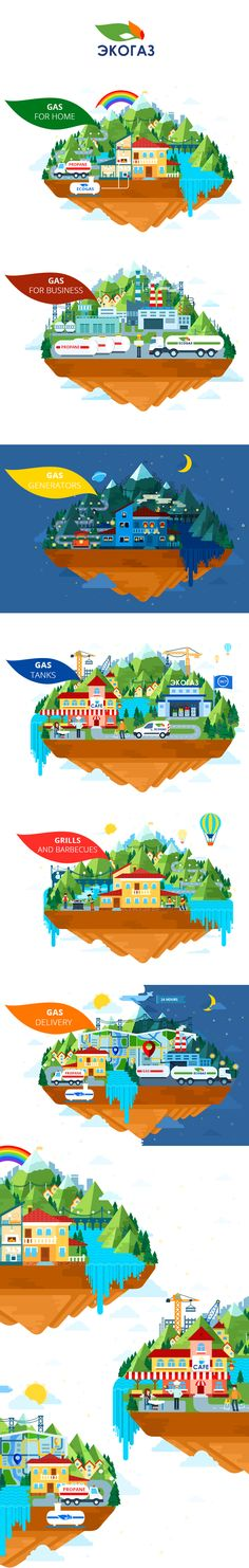 Illustrations for site by Mary I., via Behance