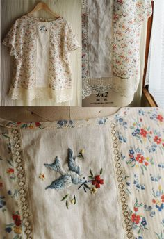 I've been looking at embroidered clothing by Rairai and am in awe of her talent. Just love this blouse, her use of vintage lace and beautiful stitching.