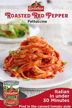 Our Fettuccine with Roasted Red Pepper Tomato Sauce recipe fuses sweet roasted red peppers with Contadina® Tomato Sauce, made with vine-ripened Roma tomatoes, for a bright and zesty Italian dish ready in just 30 minutes. Baked Salmon Recipes, Fried Chicken Recipes, Pork Recipes, Pasta Recipes, Crockpot Recipes, Vegetarian Recipes, Cooking Recipes, Healthy Recipes, Recipes