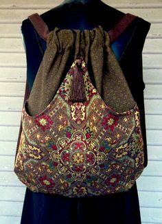 Lazo marrón de mochila mochila boho mochila renacentista mochila marrón borla rico tapiz de la tapicería