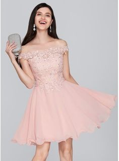 A-Line/Princess Off-the-Shoulder Short/Mini Chiffon Homecoming Dress With Beading Sequins (022124858)