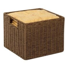 """Parchment Cord Crate, Brn - Honey-Can-Do STO-03567 Paper Rope Storage Crate, Brown. Keep clutter at bay with our paper rope crate basket. The recycled and repurposed parchment is formed into strap-like fibers, making the crate durable and eco-friendly. The wire frame adds to its strength, and the built-in carrying handles make it easy to transport.  Measuring 12.2""""  L x 13"""" W x 10"""" H, this crate provides endless storage options for any room of the house and its neutral color matches any ..."""
