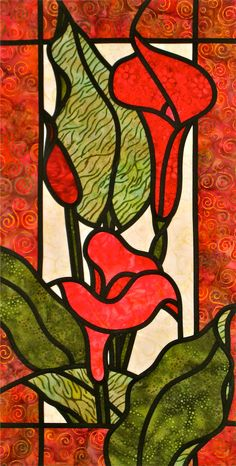 Colourful Callas - A Stained Glass Quilt | Quilts By Jen