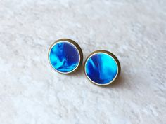 Dark blue and light blue swirled gold stud earrings $10 on #Etsy by kristygood