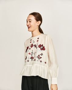 FLORAL EMBROIDERED BLOUSE-Blouses-TOPS-WOMAN   ZARA United States