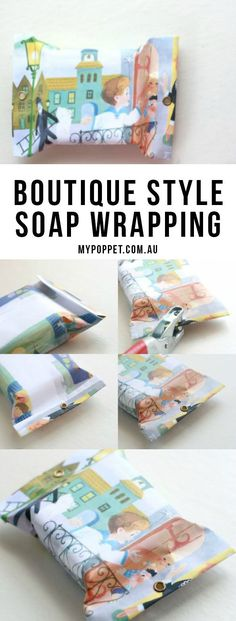 Wrap small gifts with this Boutique style wrapping - perfect for soaps - mypoppet.com.au