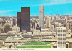 If there was a heyday for Toronto postcards, it was surely the when the grittiness of the city was perfectly matched to the sepia-tones of th. Toronto Ontario Canada, San Francisco Skyline, 1970s, Skyscraper, Germany, Photographs, Photos, History, City