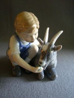 """Royal Copenhagen Figurine """"Boy With A Goat"""" #434, Sculptured by Alan from brysantiques on Ruby Lane"""