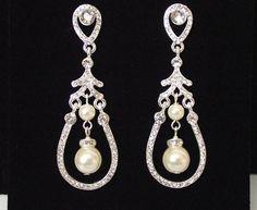 Bridal Earrings Chandelier Wedding by nefertitijewelry2009 on Etsy, $46.50