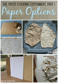 The Paper Flooring Experiment, Part I - Paper Options The Paper Bag Floor Series - Paper Options Paper Bag Walls, Paper Bag Flooring, The Paper Bag, How To Make A Paper Bag, Diy Flooring, Paper Bags, Brown Paper Flooring, Cheap Flooring Ideas Diy, Flooring Options