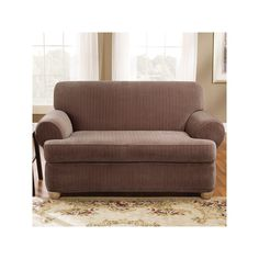 Sure Fit Pin-Striped T-Cushion Loveseat Slipcover, Brown