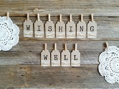 This listing is for 1 x set bunting tags spelling out WISHING WELL Individual tags measure 9cmx4cm Please contact us if you need any assistance and thanks for taking the time to view our shop