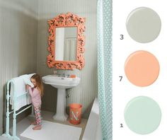 Obsessed with this bathroom! Colors & mirror. I think I might have to redo my bathroom next.