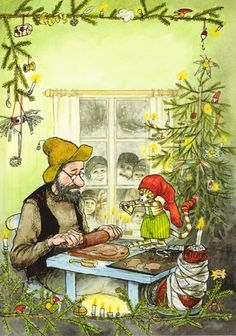 New single Christmas postcard by Sven Nordqvist, Pettson, Findus, tree Christmas Books, A Christmas Story, Christmas Readings, Merry Christmas, Chris Riddell, Abc Poster, Nordic Art, Children's Literature, Children's Book Illustration