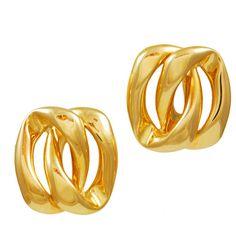 1stdibs jeri cohen  Gold Double Curb Earrings