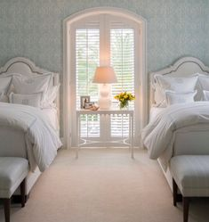 Grosgrain Pleated Valance, Transitional, Girl's Room, J K Kling Associates guest room Home Bedroom, Bedroom Decor, Girls Bedroom, Twin Bedroom Ideas, Twin Room, Bed Room, Master Bedroom, Beautiful Bedrooms, Beautiful Beds