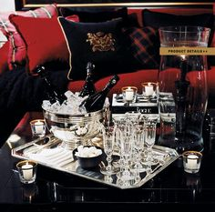 Ralph Lauren Home Noble Estate Collection black and red gold accents Cheers, Ralph Laurent, Ralph Lauren Style, Cabin Interiors, Decoration Table, Cocktail Tables, Bars For Home, Tartan, House Design