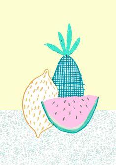 Tutti fruiti Lemon Illustration  Amyislaillustration,
