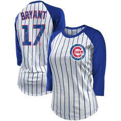 205d02554c7ba6 Kris Bryant Chicago Cubs Majestic Threads Women s Pinstripe Player Name    Number Raglan 3 4