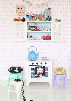 Nice set up for a play kitchen area