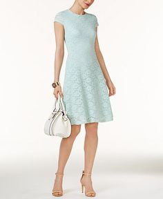 Alfani Petite Lace Fit & Flare Dress, Created for Macy's - Blue Daytime Dresses, Casual Dresses, Summer Dresses, Short Girl Fashion, Modest Fashion, Fit Flare Dress, Fit And Flare, Review Dresses, Lace Dress