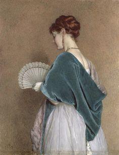 John Dawson Watson - Woman with a Fan, 1871(I'd like to make this shawl)
