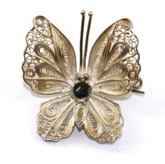Vintage Butterfly Filigree Design Round Onyx Pin/Brooch Silver BB 709 - E by GabrielStar on Etsy