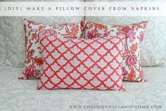 Think of more than cut fabric when making pillow covers - these ones are made from napkins! via The Chronicles of Home