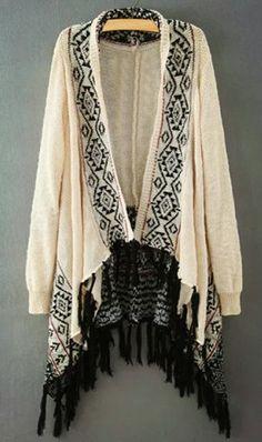 Geometrical Pattern Long Sleeve Cardigan