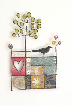 Made By Hand Online - Black Bird mixed media by Liz Cooksey at madebyhandonline