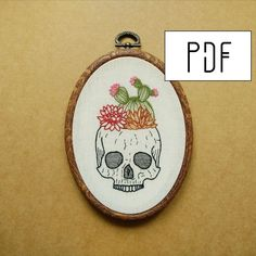 Cactus and Succulent Skull Planter Hand Embroidery Pattern (succulent embroidery - cactus embroidery) (PDF modern embroidery pattern) by ALIFERA on Etsy