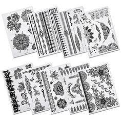 eBoot Temporary Tattoo Black Body Art Sticker, 9 Sheets. Non-toxic and safe; Easy to apply and remove. Good quality black temporary tattoos will last several days. Those black temporary tattoos are waterproof, so you can utilize them at beach or pool parties. 9 Sheets temporary tattoo with vibrant images designs, you can have them in one time. Includes feathers, leaves, necklaces, bracelets, flowers, butterfly and so on.