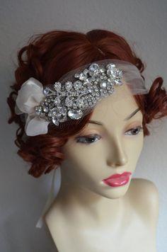 Champagne tulle,1920s,Rhinestone Beaded Headpiece,Headband,Tulle headpiece,Rhinestone brooch,Champagne Petals,Vintage headpiece