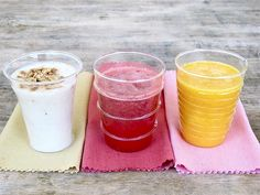 Smoothies - Banana Cream with Graham Cracker, Mango, Strawberry - Really healthy and quick!