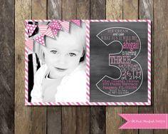 PRINTABLE Chalkboard Third Birthday Invitation with Picture - 3rd Birthday Invitation -  Girls Boys Birthday Party 4x6 or 5x7 on Etsy, $13.00