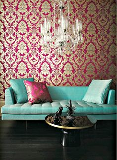 Matthew Williamson PEGASUS Wallpaper. A luxe room worthy of Marie Antoinette.