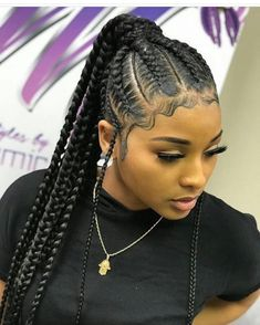Pin By Darline On Braids Braids For Black Hair Braided Ponytail Hairstyles Braided Hairstyles- cornrow hairstyles for black women new hairstyles for black women Braided Ponytail Hairstyles, African Braids Hairstyles, Protective Hairstyles, Feed In Braids Ponytail, Cornrow Ponytail, Protective Braids, Braided Ponytail Weave, Protective Styles, Loose Braids
