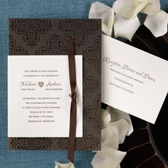 """This elegant mocha and ecru invitation features a mocha base card with a regal design. An ecru wrap features your wording in the ink and lettering style of your choice and ties to the base card with a mocha ribbon. All enclosures will be printed on ecru stock.   5 1/8"""" x 7 1/4"""""""