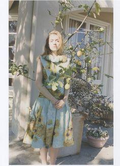 Imogen Poots wears Rodarte's SS 2012 Sunflower Printed Dress in Twin Magazine.