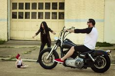 Harley Davidson motorcycle Pinup baby daughter  Family photo family picture Fiancé  Engaged  Cute  Funny