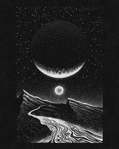 'Early Earth' illustration, limited prints available in bio! I hope you had a great weekend! Black And White Art Drawing, Black Paper Drawing, Black Art, Scratchboard Art, Instagram Prints, Cool Sketches, Ink Illustrations, Pen Art, Art Challenge