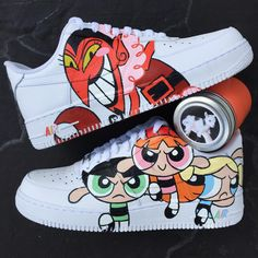llllllllove the power puff girls reminds me of my childhood Custom Vans Shoes, Custom Painted Shoes, Custom Sneakers, Nike Custom, Painted Vans, Sneakers Mode, Sneakers Fashion, Fashion Outfits, Souliers Nike