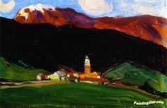Tinzen (Oberhalbstein), Switzerland Artwork by Clarence Gagnon Hand-painted and Art Prints on canvas for sale,you can custom the size and frame