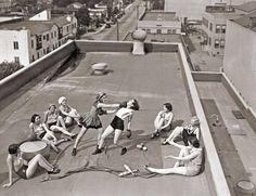 Women Boxing on Rooftop, 1938